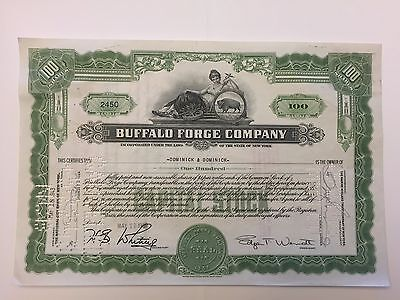 1943 Buffalo Forge Company Stock Certificate Edgar Wendt Buffalo, New York