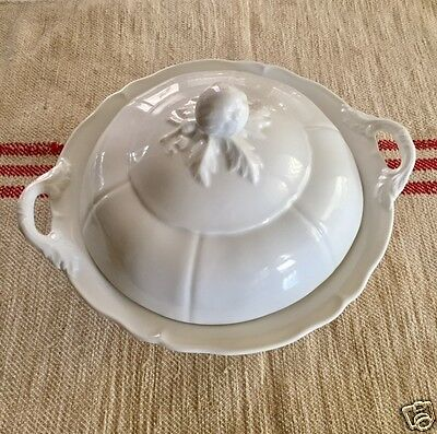 Nice Large Antique French White Ironstone Covered Soup Tureen Pottery