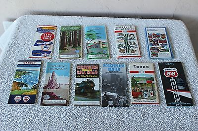 Lot of 8 VINTAGE  Road Maps and 3 brochures Ca. Texas, Utah, Oregon 1960s-1970s
