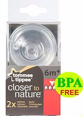 Tommee Tippee Closer To Nature Easivent Thick Feed Teats 6M+ Pack Of 2 Bpa Free