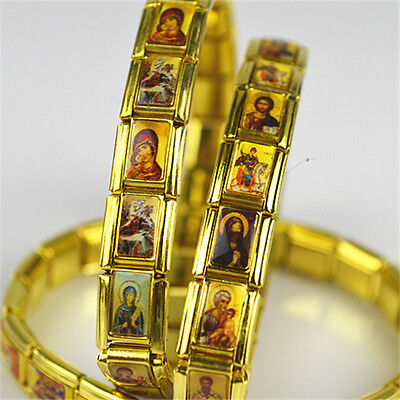 Lot of 3pcs Gold Plated Religious Christian Bracelet & Orthodox Saint Picture