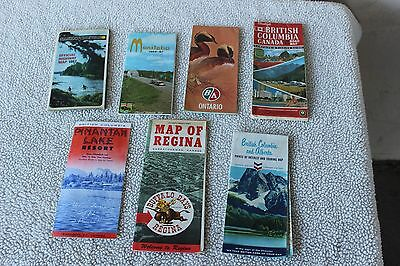 Lot of 6 Vintage Road Maps & one brochure Canada 1960s