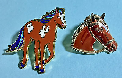 2 Horse Pins - Larger Lapel Pin , and Horse Head Tie-tack