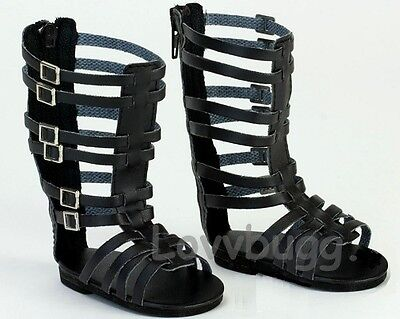 "Black Gladiator Sandals Shoes for 18"" American Girl Doll Clothes  Wow Selection"
