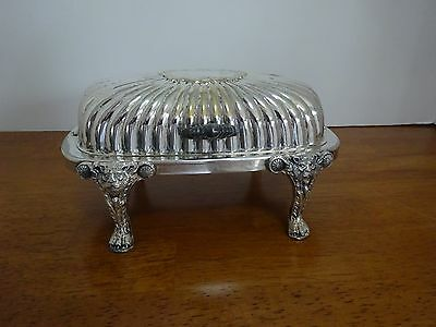Vintage F B Rogers Silver Co Lion/Tiger Head/Claw Leg Butter Dish w/Glass Insert
