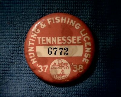 Tennessee 1937-38 Hunting & Fishing License Button