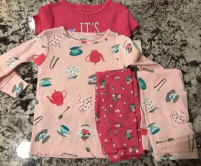 NWT CARTERS BABY GIRL TEA PARTY 4pc PAJAMA SET SIZE 12 MONTHS