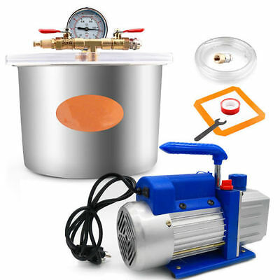 Vacuum Chamber 1.4 Gallon 5L /4 CFM Single Stage Pump to Degassing Silicone