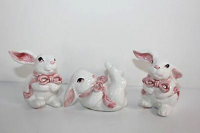 White Easter Bunny Rabbit Figurine Porcelain Ceramic White Pink Table Decoration