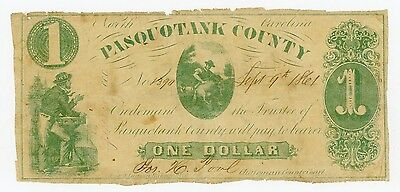 1861 $1 Pasquotank County - NORTH CAROLINA Note CIVIL WAR Era
