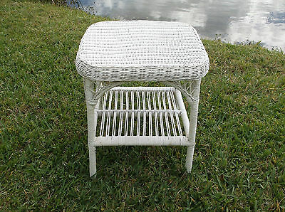 "Antique Victorian Style Vintage  ""shabby Chic"" Wicker Side Table"