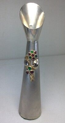 Antique Sterling Silver & Enamel Flower Epergne Posy Flower Vase Sz 5.6""
