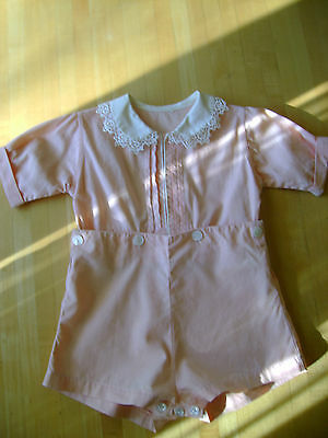 Vintage 1930's Child's Romper Playsuit Sunsuit Peach Colored Handmade Two Piece