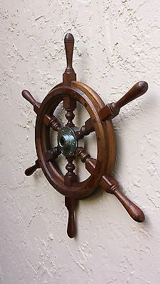 Classic Teak Wood Boat's Wheel; Ship's Helm