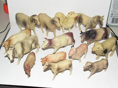Nice 14 Pc Lot - Vintage Plastic Misc Farm Animals - Free US Shipping!