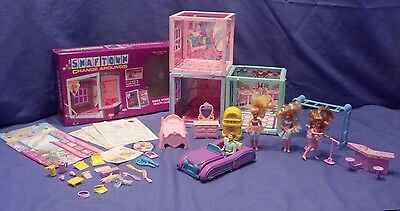 Lot of 3 Vintage Mattel Snaptown Change Arounds Doll Houses w/ Dolls Accessories