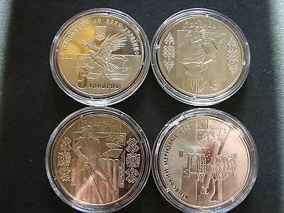 4 proof-like 5-Hryven coins from Ukraine ! BU+