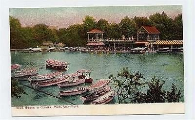 Boat House in Central Park New York City Postcard 1900s