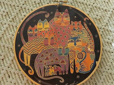 Laurel Burch Cat Canvas in Embroidery Hoop.
