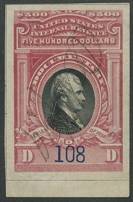 #r180 $500 1899 Revenue Stamp Xf-Superb Gem Cv $800++ Hw2484