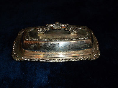 Vintage Silver On Copper Butter Dish