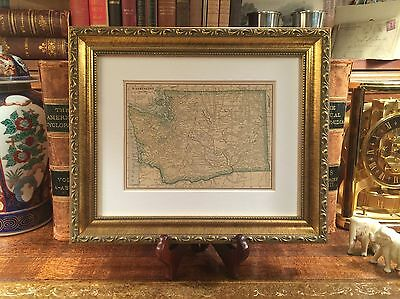 Framed Original 1908 Antique Map WASHINGTON STATE History Genealogy 109-yrs-old