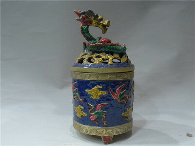 China's early noble use of copper fetal cloisonne panlong Smoked incense burner