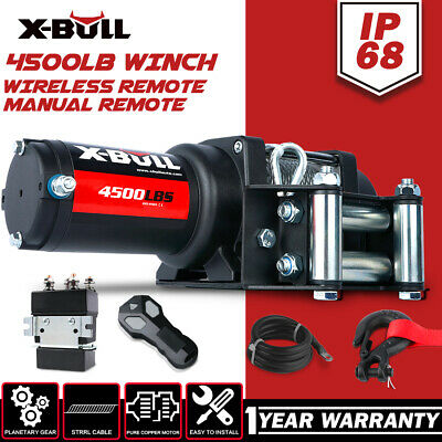 X-BULL 12V 4500LBS/2045kg Winch Wireles Boat Electric Steel Cable 2 Remote ATV