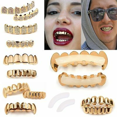 Fashion Grillz Set 24k Gold Plated Top&Bottom Tooth Hip Hop Teeth Grills w/Molds