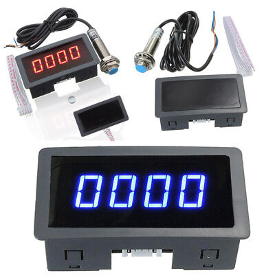 Tachometer RPM Speed Meter 4 Digital Blue/Red LED + Hall Proximity Switch Sensor
