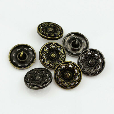 12pcs Antique Bronze Hollow Metal Flower Carving Round Metal Shank Buttons