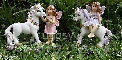 Set of 2 Fairy Friends and Unicorn Ornament Resin Fairies Statue 13cm