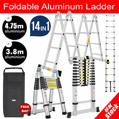 5M Multipurpose Telescopic Folding Ladder Aluminium Alloy Extension Steps Au