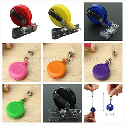 AU Retractable ID Card Badge Holder Keyring Metal Clip Reels Random Colour Hot