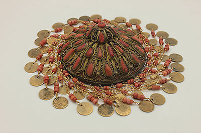 Antique Original Silver Brass Mixed Coral Decorated Amazing Bridal Head