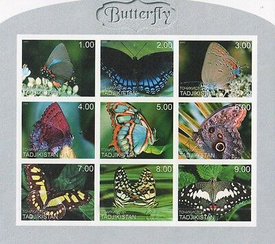Butterfly Insect Tadjikistan 1999 Imperforated Mnh Stamp Sheetlet