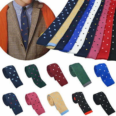 Mens Necktie Colourful Gift Skinny Knitted Tie Fashion Knit Slim Narrow Ties AU