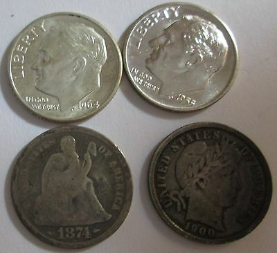 lot of dimes 1874 arrows liberty seated 1900 barber 1954D & 1964D Roosevelt