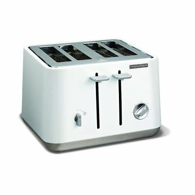 Morphy Richards 240003 Aspect Stylish Stainless Steel Four Slice Toaster - White