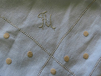 "Stunning UNUSUAL Blue Linen Table Cloth Beige Dots Embroidered Monogram ""FU"""
