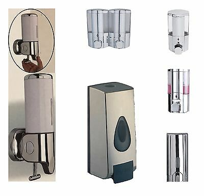 Soap Dispenser Shower Gel Shampoo Bathroom Wall Mounted Pump Action Chrome Tall