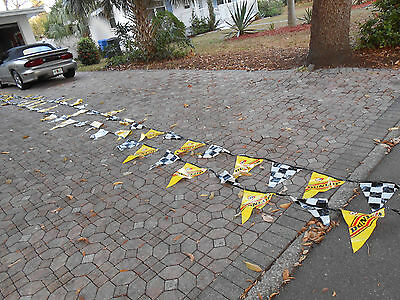 DUNLOP TIRES Checkered FLag Advertising Sign 60 Triangle Streamers Banners 76ft