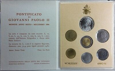 Coin Set Vatican 1984,10 - 1000 Lire, Pope John Paul II., complete Set in Folder