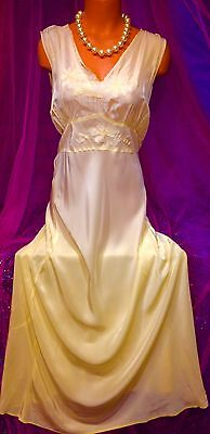 40's Vintage Yellow Rayon Satin Silky Peignoir Long Sweep Embroidered Gown L XL