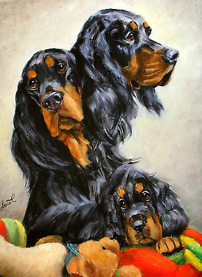 Gordon Setter  limited edition print dog art with double designer mat