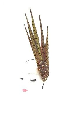 Yellow Brown Pheasant Feather Statement Fascinator Races Headpiece Headband 2347