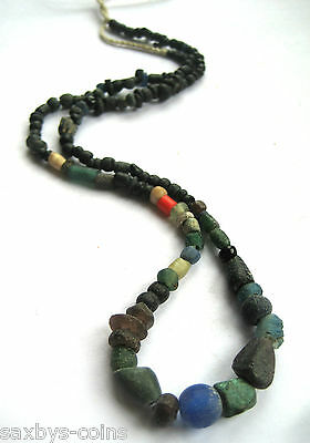 circa.300 B.C Ancient Egypt PTOLEMAIC Period Bronze & Glass Necklace Bead Set