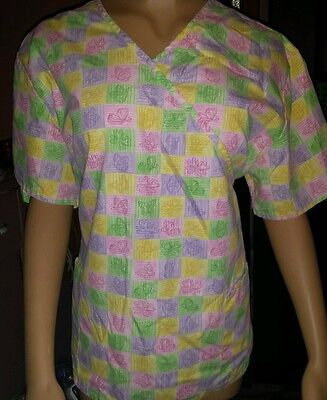 Women's 2xl scrub top pastel colors with butterflies