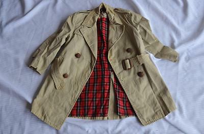 Children's  6/7 1950 1960's State O Maine Trench Coat Red Plaid Lining Leather