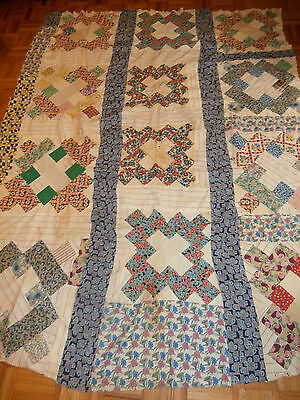 """Antique Courthouse Steps pattern Quilt top 69""""x 86""""  red and white Flour sack"""